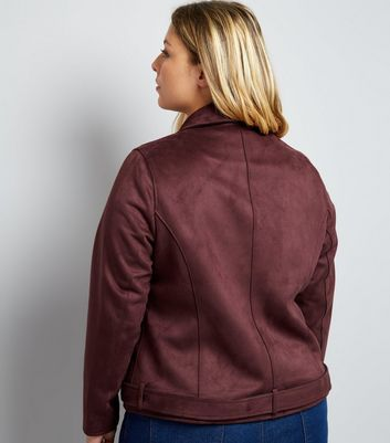 Curves Burgundy Suedette Biker Jacket New Look