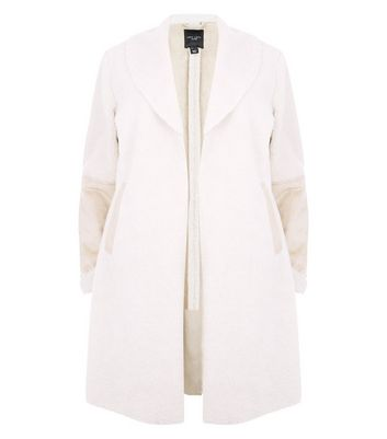 Curves Cream Faux Shearling Longline Coat New Look