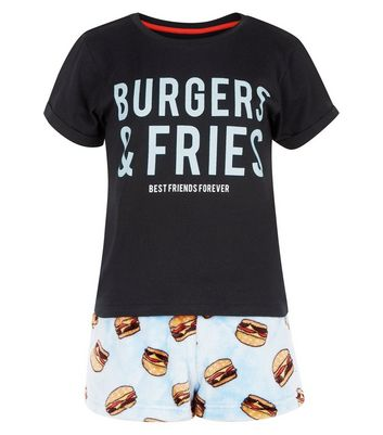 Teens Black Burgers and Fries Pyjama Set New Look