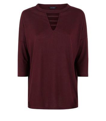 Burgundy Lattice Front 3/4 Sleeve Top New Look