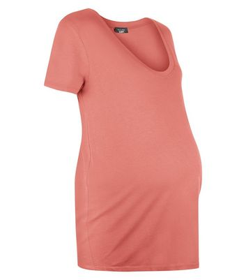 Maternity Coral Scoop Neck T-Shirt New Look
