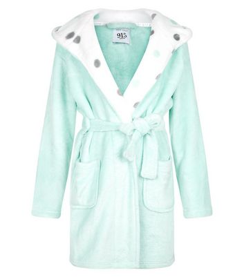 Teens Mint Polka Dot Pattern Liniing Robe New Look