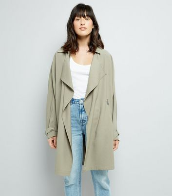 Dark Green Duster Coat New Look