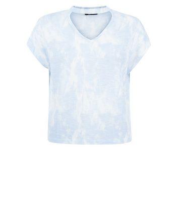 Teens Blue Tie Dye Choker Neck T-Shirt New Look
