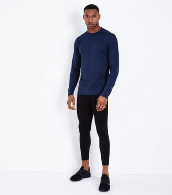 Navy Long Sleeve Crew Neck Sports Top New Look