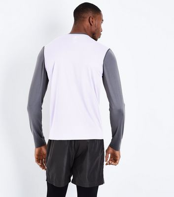 Charcoal Grey Colour Block Sports Top New Look
