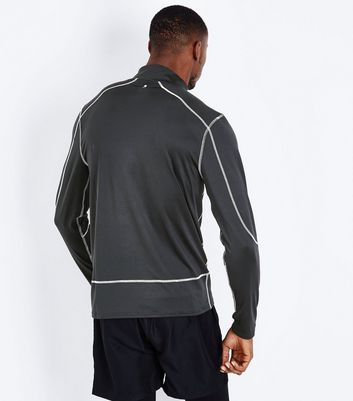 Black Zip Front Sports Top New Look