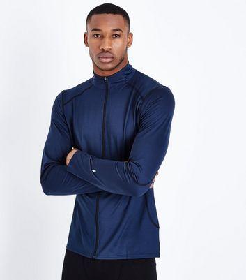 Navy Zip Front Sports Top New Look