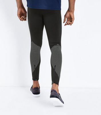 Black Printed Panel Running Tights New Look