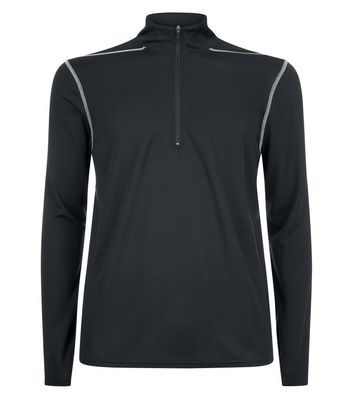 Black Mesh Long Sleeve Sports Top New Look