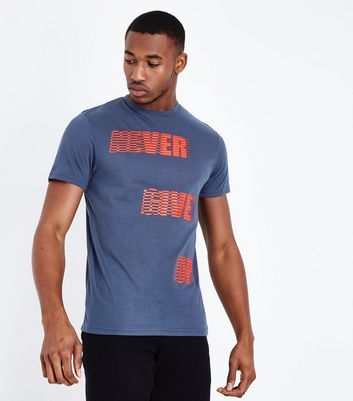 T-shirt de sport bleu marine « Never Give Up »