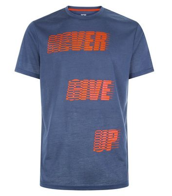 Navy Never Give Up Sports T-Shirt New Look