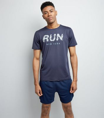 Navy Run Slogan Sports T-Shirt New Look