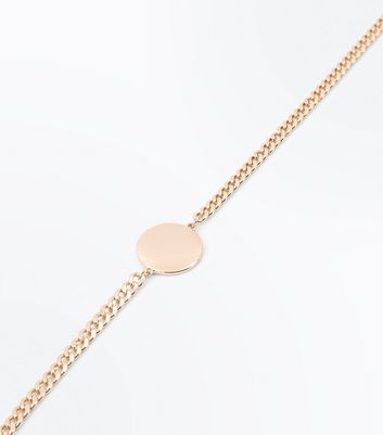 Gold Chain Disc Centre Choker New Look