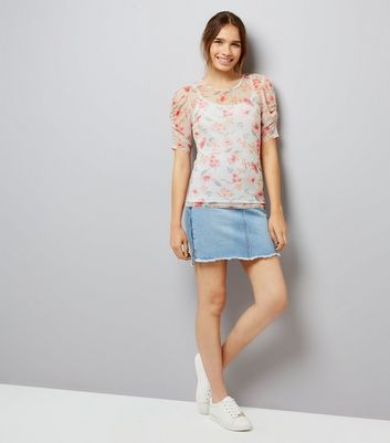 White Floral Print Gathered Sleeve T-Shirt New Look