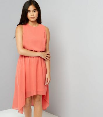 Teens Orange Dip Hem Chiffon Dress New Look