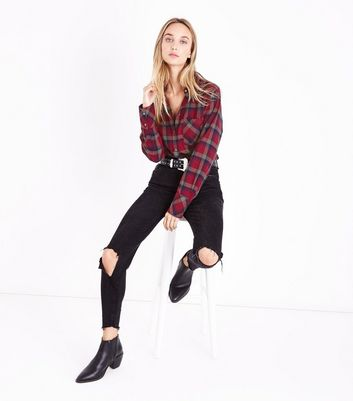 Tall Red Check Pocket Front Shirt New Look