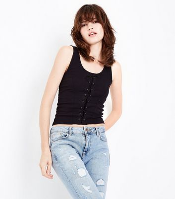 Tall Corset Lace Up Ribbed Vest New Look