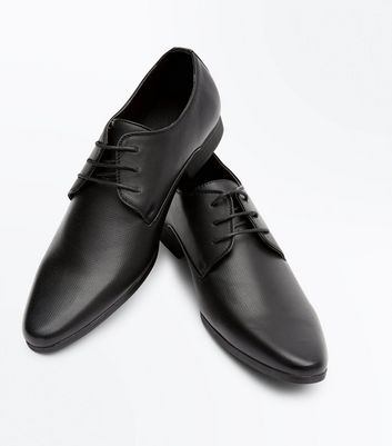 Black Perforated Formal Gibson Shoes New Look