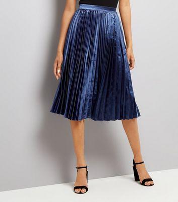 Navy Pleat Midi Skirt New Look