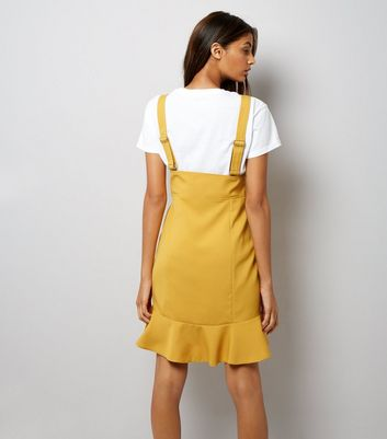 Yellow Corset Pinafore Dress New Look