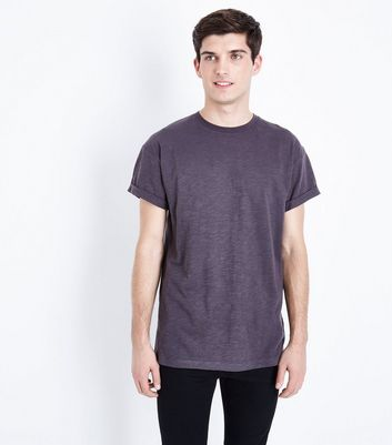 Dary Grey Rolled Sleeve T-Shirt New Look