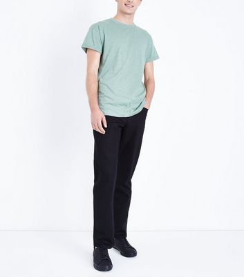 Green Rolled Sleeve T-Shirt New Look