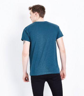 Dark Green Rolled Sleeve T-Shirt New Look