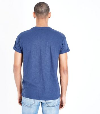 Navy Rolled Sleeve T-Shirt New Look