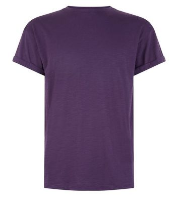 Dark Purple Cotton Rolled Sleeve T-Shirt New Look