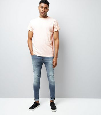 Shell Pink Cotton Rolled Sleeve T-Shirt New Look