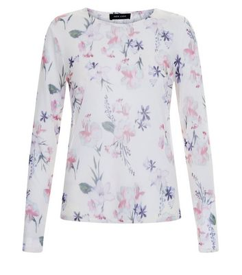 White Floral Print Mesh Long Sleeve Top New Look