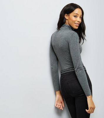 Dark Grey Roll Neck Top New Look