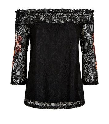 Black Floral Embroidered Lace Bardot Neck Top New Look