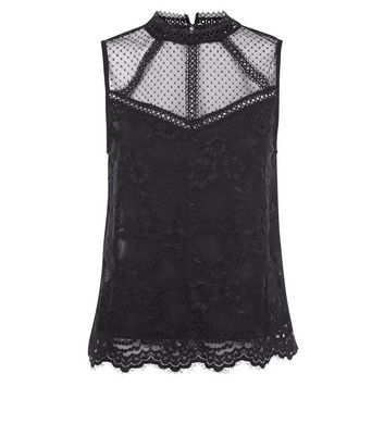 Black Lace Sheer Yoke Vest Top New Look