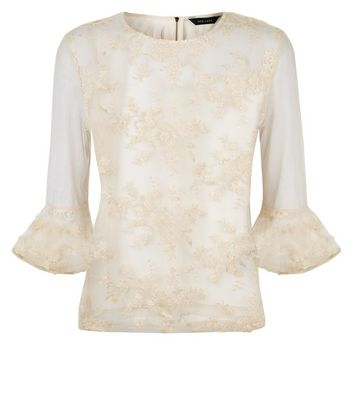 Cream Floral Embroidered Mesh Bell Sleeve Top New Look