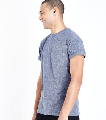 Blue Marl Rolled Sleeve T-Shirt New Look