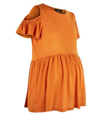Maternity Orange Cold Shoulder Peplum Top New Look