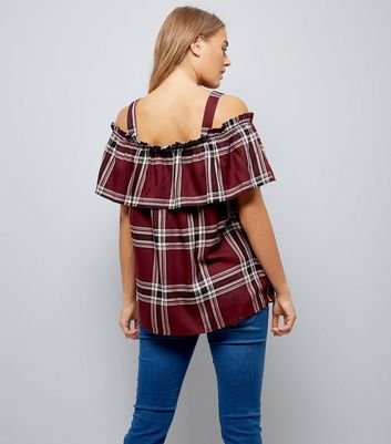 Maternity Red Check Bardot Neck Top New Look
