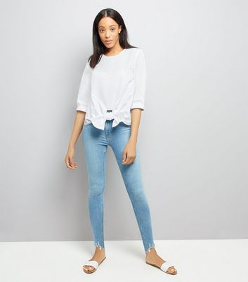 White Knot Front Blouse New Look