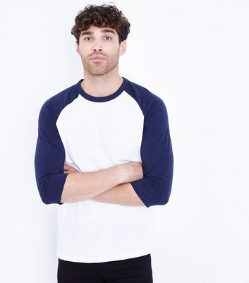 Navy 3/4 Raglan Sleeve T-Shirt New Look