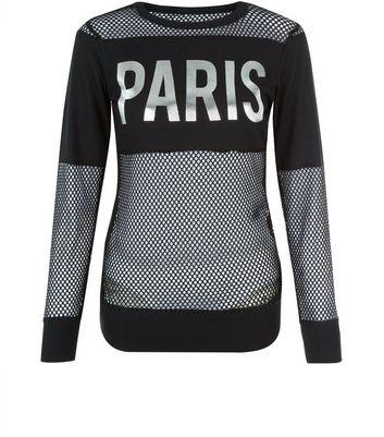 Cameo Rose Black Mesh Paris Print T-Shirt New Look