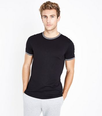 Black Contrast Trim Ringer T-Shirt New Look