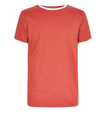 Rust Contrast Trim Ringer T-Shirt New Look