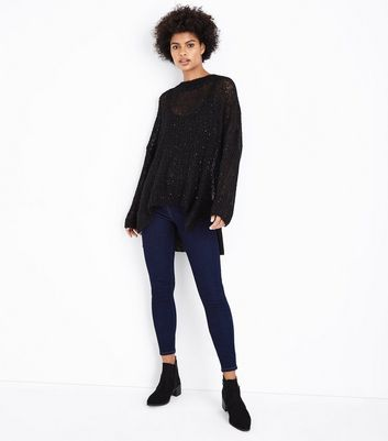 Black Loose Knit Sequin Jumper New Look