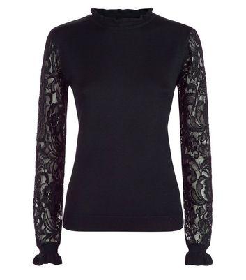 Blue Vanilla Black Frill Neck Lace Sleeve Top New Look