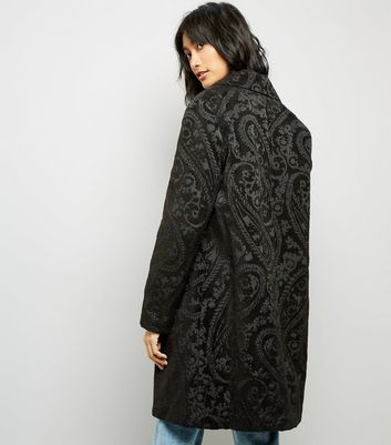 Black Paisley Jaquard Coat New Look