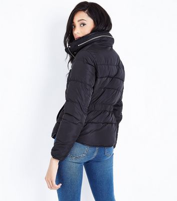 Black Faux Fur Trim Padded Puffer Jacket New Look