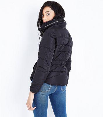 Black Faux Fur Trim Padded Puffer Jacket New Look