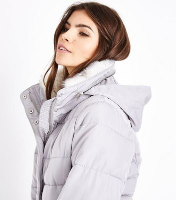 Grey Faux Fur Trim Padded Puffer Jacket New Look